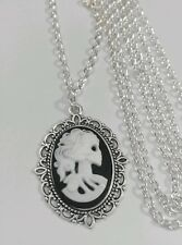 "Gothic Steampunk Skull Skeleton Lady Black Cameo Charm Pendant Long 30"" Necklace"