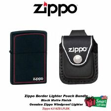 Zippo Border Black Matte Lighter and Black Leather Loop Pouch #218ZB_LPLBK