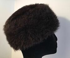 "VINTAGE REAL FUR HAT 20-21"" BROWN SHEEPSKIN COSSACK STYLE HAT CUSTOM MADE"