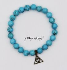 Bronze Deathly Hallows and Blue Turquoise Natural Gemstone Beaded Bracelet