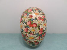 ANTIQUE GERMAN PAPER MACHE EASTER EGG CANDY CONTAINER FLORAL