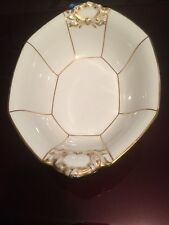 VINTAGE 10 INCH OVAL WHITE AND GOLD TRIM BOWL LIMOGES J. POUYAT