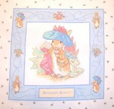 "1993 BEATRIX POTTER BENJAMIN BUNNY 17""  X 17.5 ""  COTTON QUILT FABRIC PANEL"