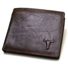 New Mens Brown Leather Bull Embossed Mark Wallet 2 Zippered Pocket