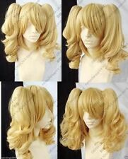 New Blonde Mixed Cosplay Split -Type Wig And With 2 PigTails