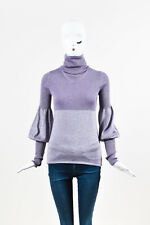 Chanel Purple Silver Metallic Cashmere Ribbed LS Turtleneck Sweater SZ 36