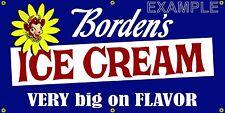 BORDENS ICE CREAM OLD SCHOOL VINTAGE SIGN REMAKE BANNER SHOP GARAGE ART 2 X 4