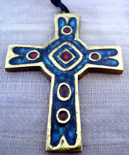 "Sculptor DOMINIQUE PIECHAUD Brass ENAMEL Pendant CROSS 3 7/8"" MEDIEVAL Style NWT"