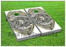POLICE Custom Cornhole Boards BEANBAG TOSS GAME w Bags Police Honor Badge ST 246