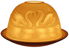 Light-Glow Swans Tealight Candle Holder Tea Light Votive Ceramic Dome Gift Boxed