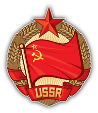 "USSR Flag Soviet Union Wreath Of Wheat Car Bumper Sticker Decal 5"" x 5"""