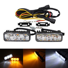 2x 6 LED Daytime Running Light Car White DRL & Amber Turn Signal 12V