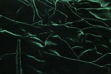 "SILK RAYON VELVET HUNTER GREEN SOLID FABRIC 45"" CLOTHING DRAPERY DRESSES YARD"