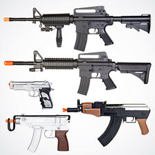 Lot of 5 Airsoft M16 Rifle AK47 Spring Gun Uzi Beretta Pistol Air Soft w/ 1k BBs