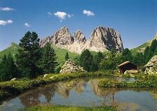 DOLOMITE Mountain View Murale Parete Foto Carta da Parati Grande Wall Art Green & Blue