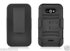 LG Motion 4G MS770 Hybrid Armor Case Skin Cover w/Stand+Holster Combo Black