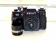 "RARE ZENIT 122 Russian SLR  film camera + 2 lens ""Industar-50"" and ""Mikar S"" EXC"