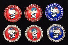 HELLO KITTY LA DODGERS 27mm GLASS DOME FLATBACK CABOCHON RHINESTONE 6 pcs