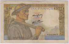 France - 10 francs 1944 used currency note