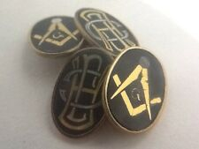 Quality Vintage Oval Faced Japanese Damascene Masonic Cufflinks