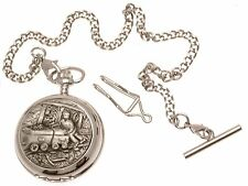 Miners Pocket Watch Pewter Fronted Mother Of Pearl Quartz Mechanism Design 67