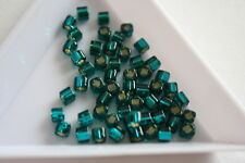 Silver Lined Teal Toho Square Beads. 150 beads. #7338