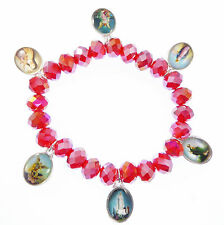 Catholi Religious images Saints medals red glass icon bracelet Jesus Mary Jude