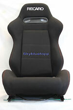 PAIR RECARO SRD SR3 Black Cloth Reclinable Racing Seats Sliders Mount