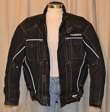 TEKNIC POWER SKIN Waterproof Black Nylon Motorcycle Riding Jacket Men's 50