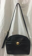 Vintage Etienne Aigner Black Leather Crossbody Bag Purse Adjustable Strap