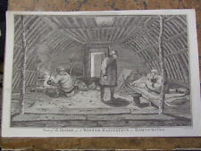 Inside Winter Accomodation, Kamschatka.  Russia.  Original engraving, 1785.