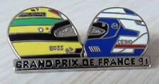 PIN'S F1 FORMULA ONE AYRTON SENNA ALAIN PROST CASQUE GRAND PRIX FRANCE ZAMAC