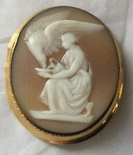 Antique Victorian Carved Shell Eagle w/ Lady Silhouette Cameo 14K Gold Pin