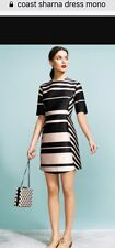 Coast❤️ Nautical Mono Stripe Occassion Shift Dress Size10 Rrp£95 BRANDNEW������