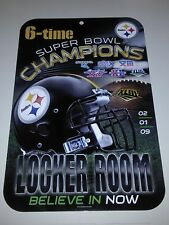Pittsburgh Steelers 6-Time Super Bowl Champions Plastic Sign New NFL AFC North