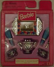 BARBIE SPECIAL COLLECTION * SILVER TEA SET w/BLUE NAPKINS * ACCESSORIES