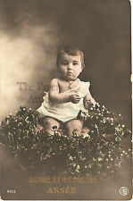 Little Baby in Mistletoe & Holly Wreath Antique French Christmas Photo Postcard