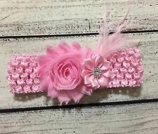 Pink Shabby Chic Flower And Feather Baby /Toddler /Girl Headband