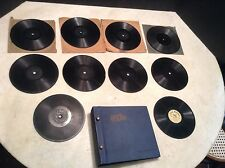 "Patent 1909 Lot of 10 Little Wonder 5 1/2"" Phonograph Records with Record Album"