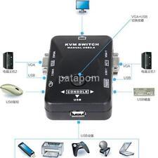 2 Port USB VGA KVM Switch Box Splitter Adapter For PC Keyboard Mice Monitor US