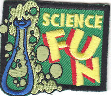 """SCIENCE FUN"" - EMBROIDERED IRON ON PATCH/School, Learning, Chemistry, Scientist"