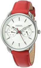 Fossil Women's ES4122 Tailor Multi-Function White Dial Red Leather Watch
