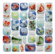 Blossoms - Floral Fused Glass Eco Mosaic Tiles Sheets Borders Hand-Painted/made
