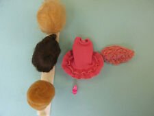 Vintage 1964  Miss Barbie #1060 Original Swimsuit &  3 Wigs and Wig Stand