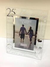 "New 25th Silver Wedding Anniversary Gift Glass Photo Frame Holds 4""x6"" Picture"