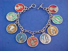 ENAMEL Religious Catholic Saint Medal Charm Bracelet Lot PRAYERS Stainless 8.5""