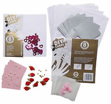 DIY CARDS 8 Set Square Card Flowers Make Your Own Craft Set Birthday Valentines