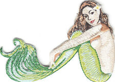 MERMAID-OCEAN-BEACH-TROPICAL-SURFING-SEA- Iron On Embroidered Patch