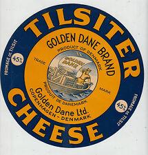 Ancienne  grande étiquette  glacée Fromage  Danois Barque  Diamètre 20,5 cm