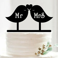 Modern Elegant Wedding Cake topper Mr & Mrs Love birds Shabby Chic Cool decor